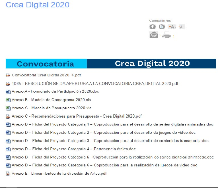 Convocatoria Crea Digital 2020